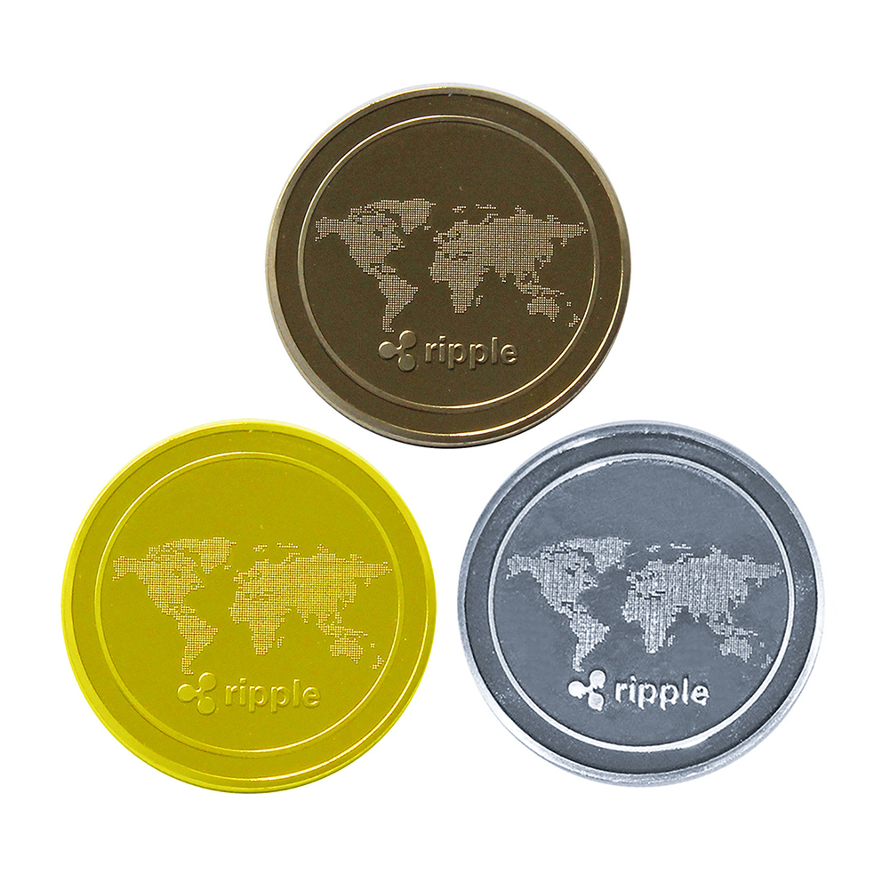 XRP Ripple Cryptocurrency Virtual Currency Gold Plated CoinBITCOIN
