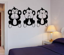 Three Wise Monkeys Vinyl Wall Stickers Yoga Meditation Relaxation OM Zen Office Decoration Wall Decal Removable