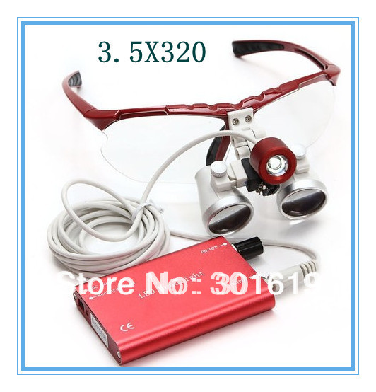 2018 Hot Sale New Brand 3.5X320 red Dentist Dental Surgical Binocular Loupes Optical with Portable LED Head Light Lamp