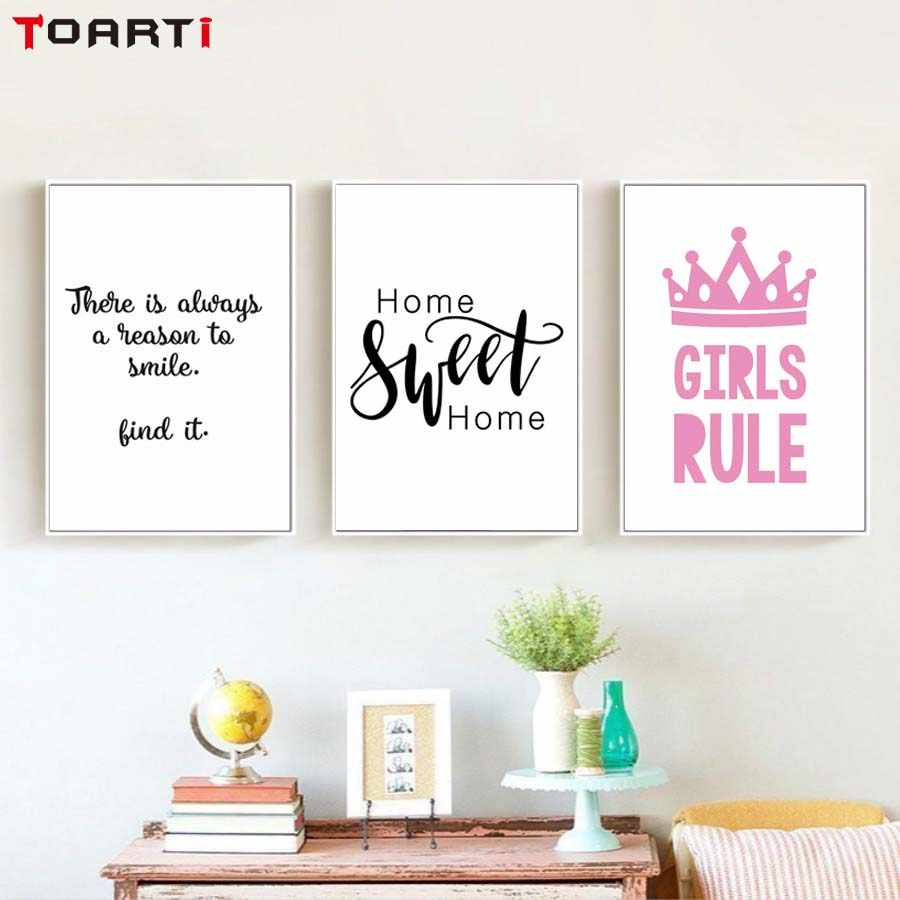 Poster&Print Girls Rule Crown Sweet Home Wall Painting Girl Bedroom Modular Canvas Picture Wall Art Murals Modern Home Decor