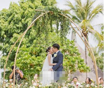 2018 New Wedding Prop Golden Ring Shaped Arch Iron Sheet Rod  Arc Wedding flower door Custom Made