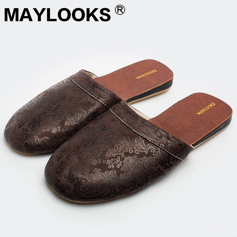 Men's Slippers Spring And Summer Pu Leather Home Indoor Slip Non-slip Slippers 2018 New Hot Kh002