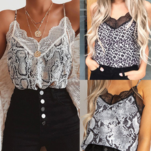 Women Sexy V Neck Animal Printed Cami Tank Vest Blouse Lace Patchwork Tops