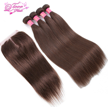 Queen Love Hair Pre-Colored Human Hair #4 Color Brazilian Straight Hair Extension 4 Bundles With Closure Non Remy Hair