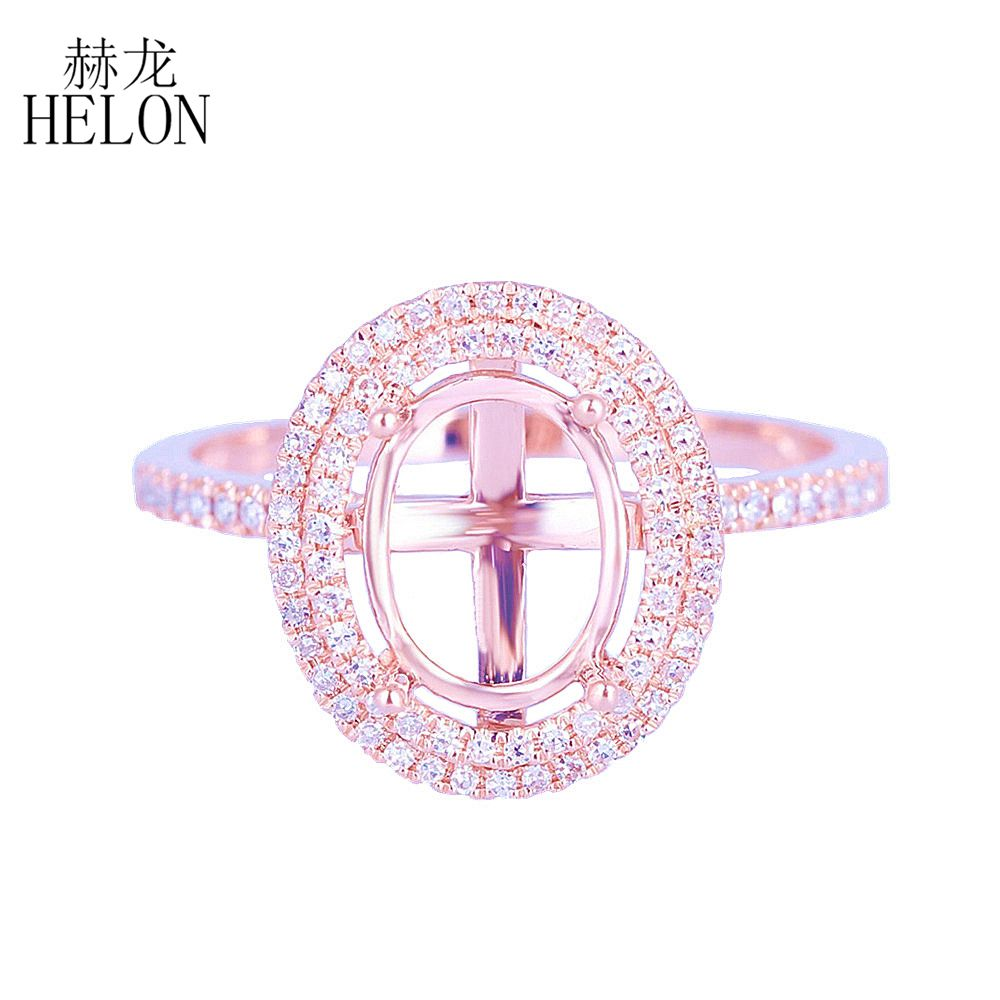 HELON 7x9mm Oval Solid 14K Rose Gold Semi Mount Pave Real Natural Diamond Ring Fine Two Halo Engagement Ring Ladies Fine Jewelry vintage oval 7x9mm solid 18kt white gold diamond semi mount pendant wholesale fine jewelry for girl wp025