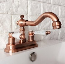 Antique Red Copper 2 Holes Bathroom Basin Faucet Swivel Spout Sink Faucet Double Handle Vessel Sink Water Tap Mixer Krg048 kitchen sink faucet with plumbing hose all around rotate swivel 2 function water outlet mixer tap faucet 5051