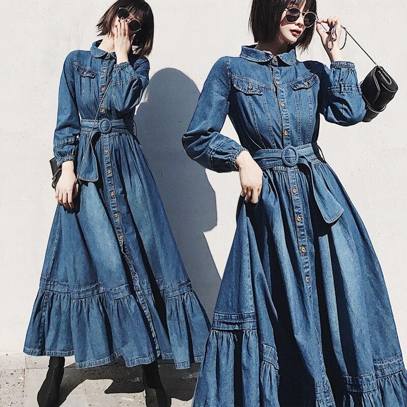 2019 piste printemps automne Denim robe femme bouton à volants longue Maxi balançoire chemise Jeans Denim robe avec ceinture