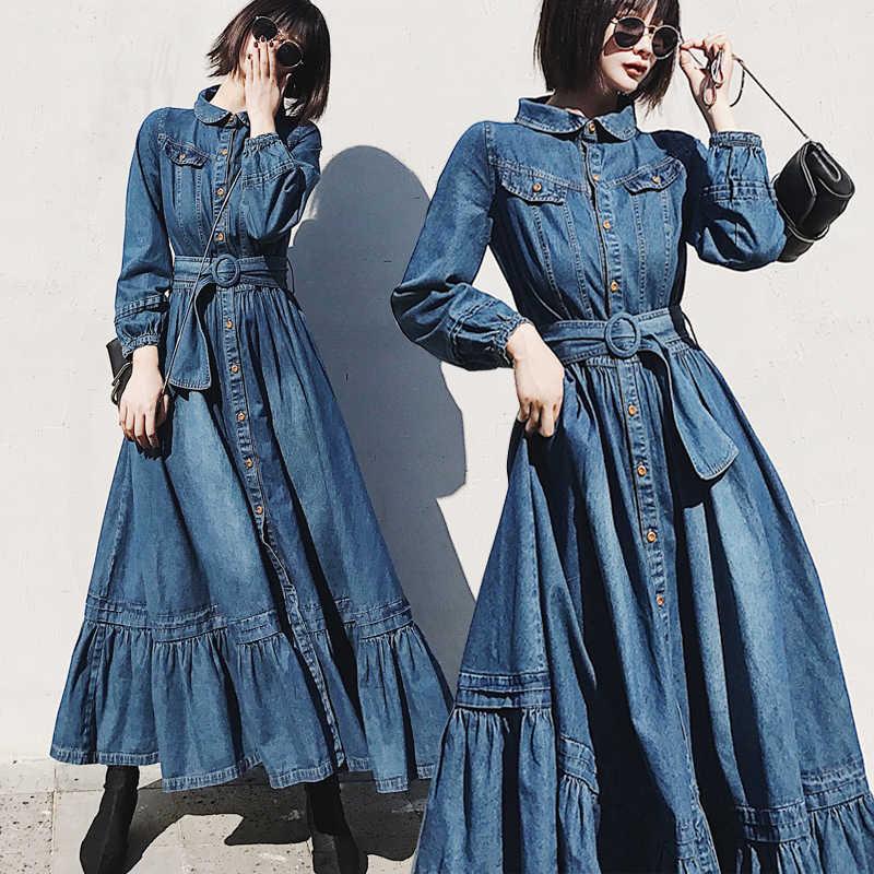 2019 מסלול אביב סתיו ינס שמלה נשי כפתור לפרוע ארוך מקסי נדנדה חולצה ג 'ינס ג' ינס שמלה עם חגורה