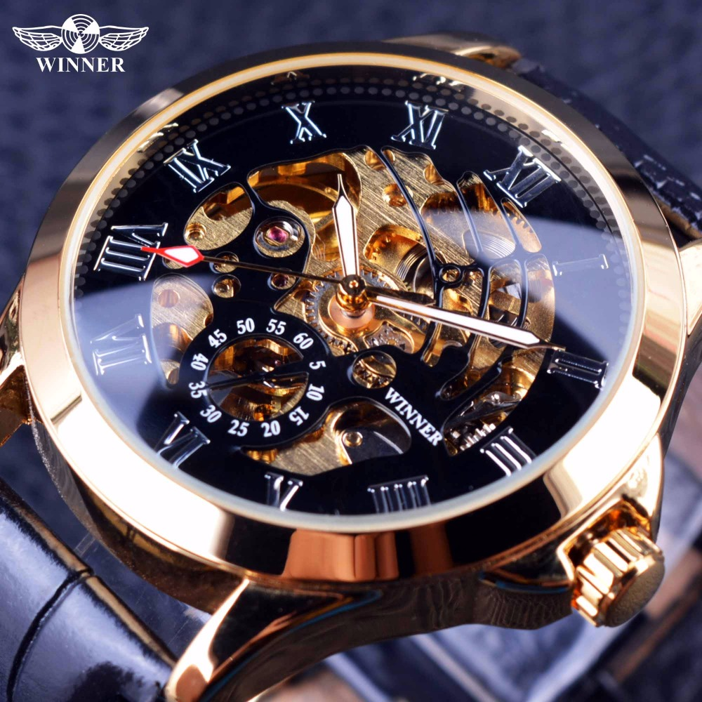 Winner 2016 Male Wrist Watch Luxury Skeleton Mens Watches Top Brand Luxury Automatic Watch Small Dial Golden Case Fashion Casual forsining 3d skeleton twisting design golden movement inside transparent case mens watches top brand luxury automatic watches