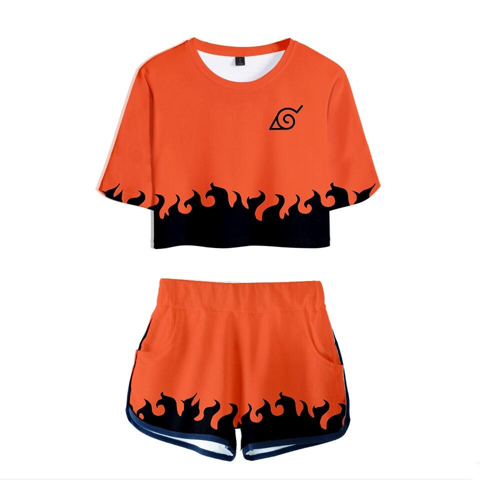 Hot Sale Casual Crop Tops 3D Naruto Shorts And T-shirt Women Clothes 2018 Harajuku Tops Hip Hop Kpop Plus Size Q1087-Q1088