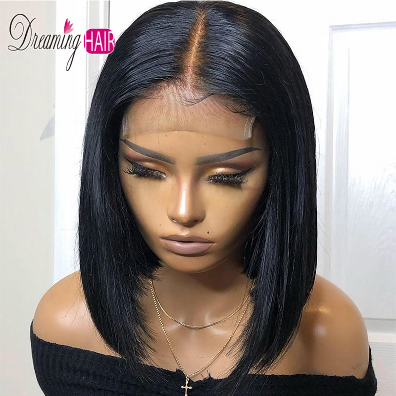 HTB17aqLbhD1gK0jSZFsq6zldVXaa 13x6 Blue Bob Lace Front Human Hair Wigs Pre Plucked 613 Honey Blonde Purple Green Burgundy Yellow Ombre Colored Human Hair Wigs
