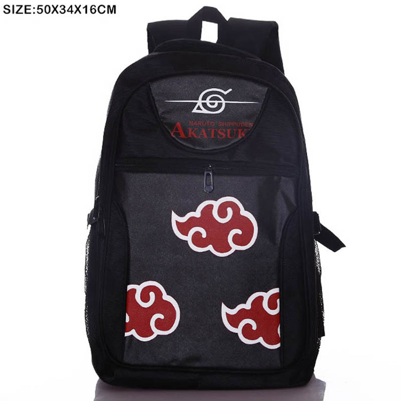 Black Backpack of Anime Naruto Double-Shoulder Bag One Piece School Book Bag Dragon Ball Z Travel Bag for Men Women Gift недорго, оригинальная цена