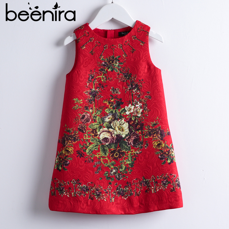 Beenira Girls Red Dresses 2018 New European And American Style Kids Sleeveless Flore Printed Party Dress Children Clothes Dress retro style sleeveless tiger stripes printed mini dress for women
