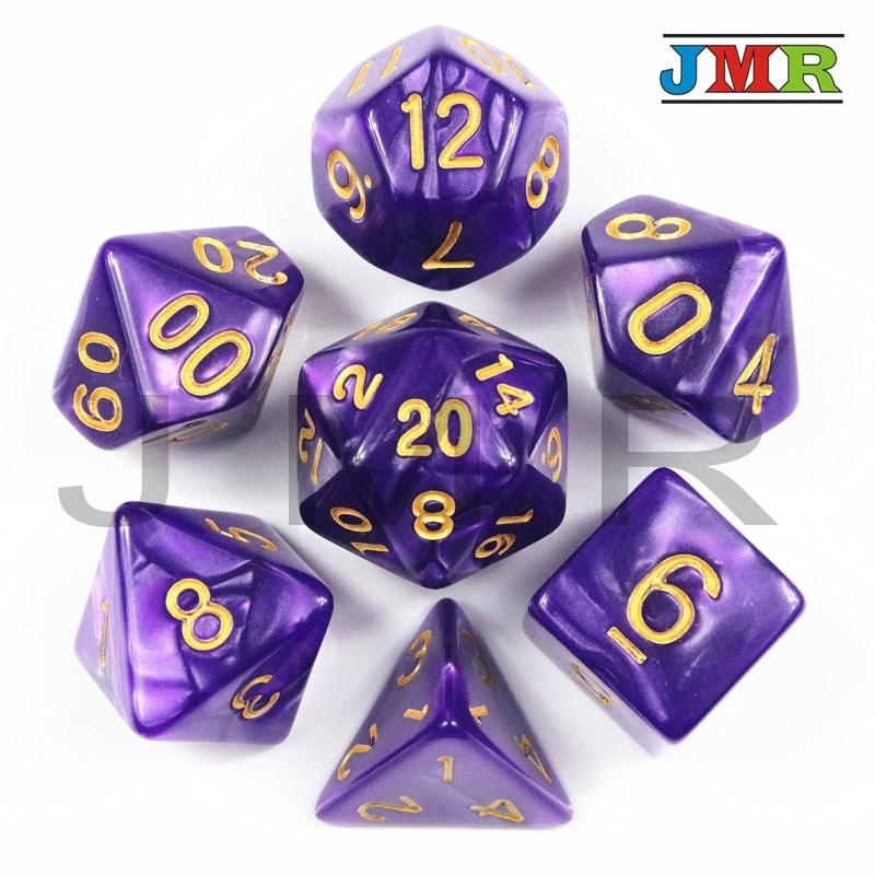 Абсолютно новый набор из 7 игральных костей с перламутровым эффектом Poker D & d D4,d6,d8,d10,d12,d20 многогранные кости, для настольной игры Rpg Dnd, в подарок