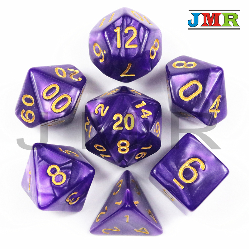 Brand New 7pcs Dice Set With Pearlized Effect Poker D&d D4,d6,d8,d10,d12,d20 Polyhedral Dice,For Rpg Dnd Board Game,as Gift