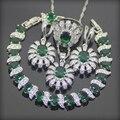 Emerlad verde Criado Topaz 925 Sterling Silver Jewelry Sets Brincos/Pingente/Colar/Anéis/Pulseiras Para As Mulheres Caixa de Presente livre