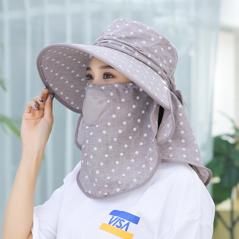 47b907f0029 2019 Summer Sun Hats For Women Ponytail Bucket Hats Beach Hat Mask ...