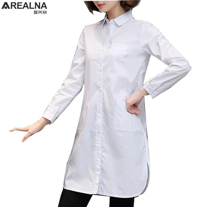 white shirt women blouses long sleeve 2017 autumn cotton ...