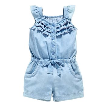 2018 Kids Baby Girls Clothing Rompers Denim Blue Cotton Washed Jeans Sleeveless Bow Jumpsuits 0-5Year conjuntos casuales para niñas