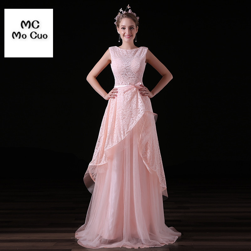 Blush rose robe de festa 2017 bouffante longue soirée robes de bal robe de soirée dentelle Tulle formelle soirée robe de soirée