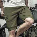 AK CLUB Brand Shorts Vintage Military Style Shorts 2017 Terry Cotton Fabric Elastic Waist Drawstring Men Casual Shorts 1614033