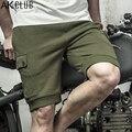 AK CLUB Cortocircuitos de la Marca de Estilo Militar de La Vendimia Cortos 2017 Terry Tela de Algodón Elástico de La Cintura del Lazo de Los Hombres Casual Shorts 1614033