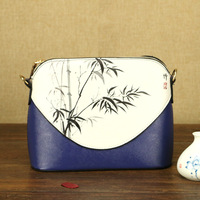 Chinese Painting Series Women PU Leather Crossbody Shoulder Shell Bag Flower Hand Painted Elegant Ladies Small
