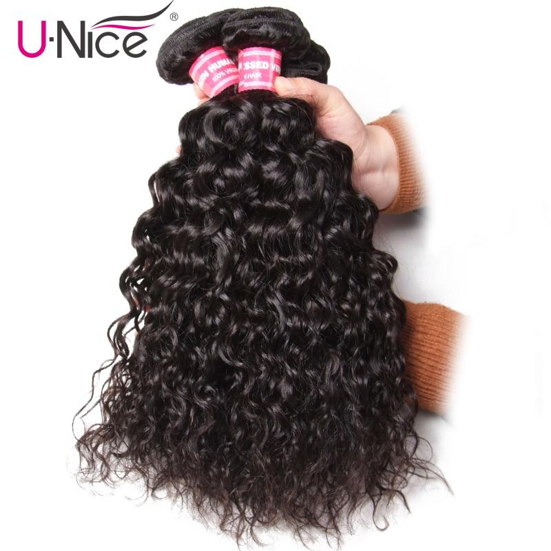 Unice Hair Water Wave Brazilian Hair Weave Bundles 3PCS 100 Human Hair Weaves Natural Color Remy