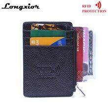MRF13 RFID Блокировка тонкий кожаный кошелек карман для монет коровья кожа передний карман чехол для кредитных карт рукав держатель для карт с ID окном