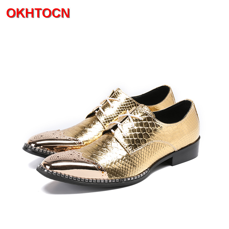 OKHOTCN Gold Leather Lace Up Men Oxford Shoes Snake Pattern Men's Party Dress Flats Shoes Spring Autumn Casual Brogues Shoes