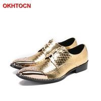 OKHOTCN Gold Leather Lace Up Men Oxford Shoes Snake Pattern Men S Party Dress Flats Shoes