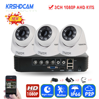 KRSHDCAM 4CH AHD DVR Security CCTV System 20M IR 3PCS 1080P CCTV Camera Home Indoor Camera