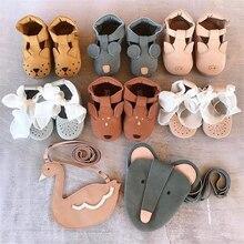 EnkeliBB кожаные ходунки для детей из натуральной кожи; обувь для новорожденных; панда/медведь/Кролик; австралийская Брендовая детская обувь