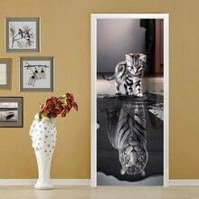 3d оригинальность двери стикер водонепроницаемый с пасты бумага украшения спальни гостиной стены стикеры кошка наклейка с тигром