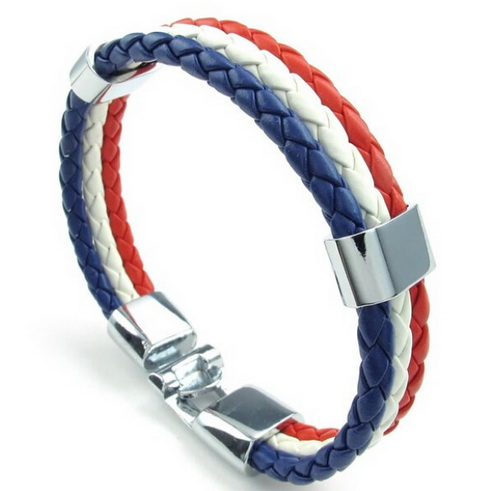 Jewelry Mens Womens PU Leather Braided Soccer Fan Nation Wristband Team Feather Bracelet French Flag Cuff Blue White Red