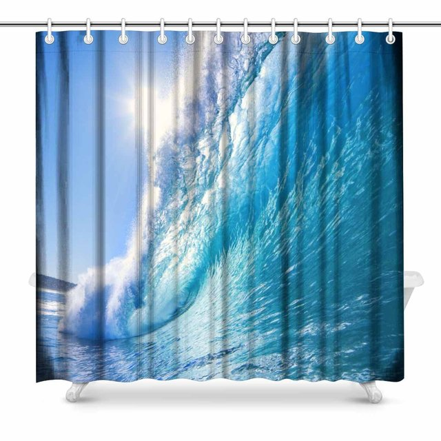 Aplysia Blue Ocean Wave Bathroom Shower Curtain Accessories 72 Inches