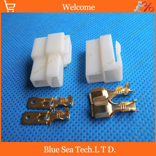 6.3mm 2 Way/pin Electrical Connector Kits, Male and Female socket plug for Motorcycle Car DHL/EMS dhl ems 2 lots l