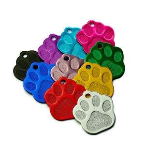 Image 1 - 卸売 100 個 3D 絶妙なポウシェイプ犬 ID タグカスタム刻ま名電話番号猫犬 ID タグペット用品