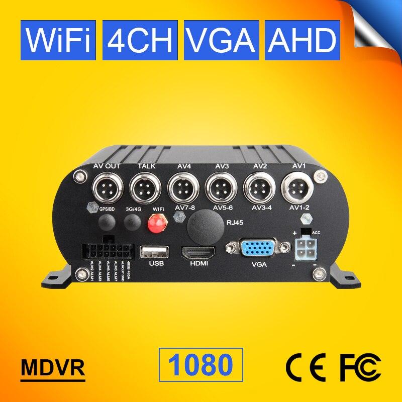 4CH WIFI HDD disque dur Mobile Dvr 1080 P AHD enregistreur de voiture pour Bus camion Van Support Iphone/android APP vue en ligne HDD Mdvr