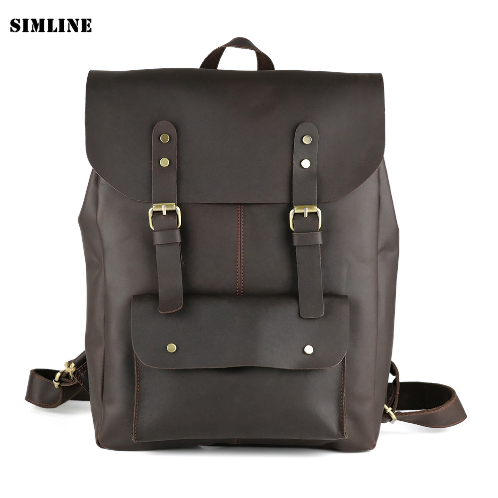 New High Quality Vintage Casual 100% Genuine Crazy Horse Leather Cowhide Men Travel Backpack Shoulder Bag Bags Backpacks For Man new arrival 2016 classic vintage men backpack crazy horse genuine leather men bag travel cowhide backpacks school bags li 1320