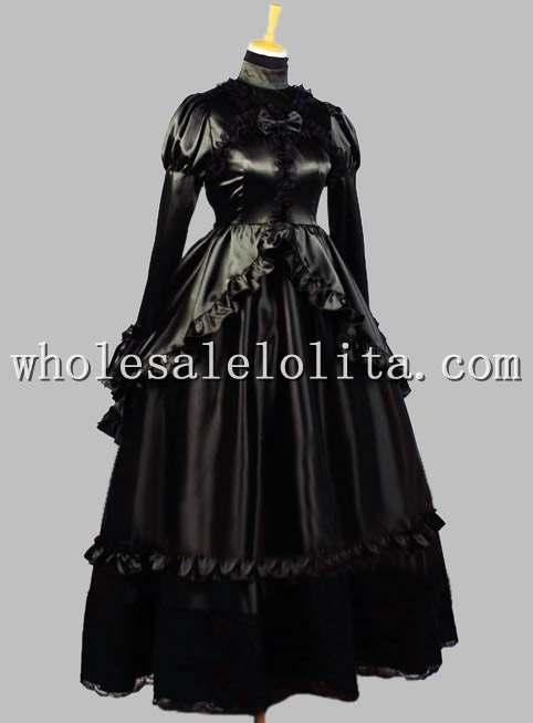 19-й век благородное готическое черное шелковое викторианское бальное платье