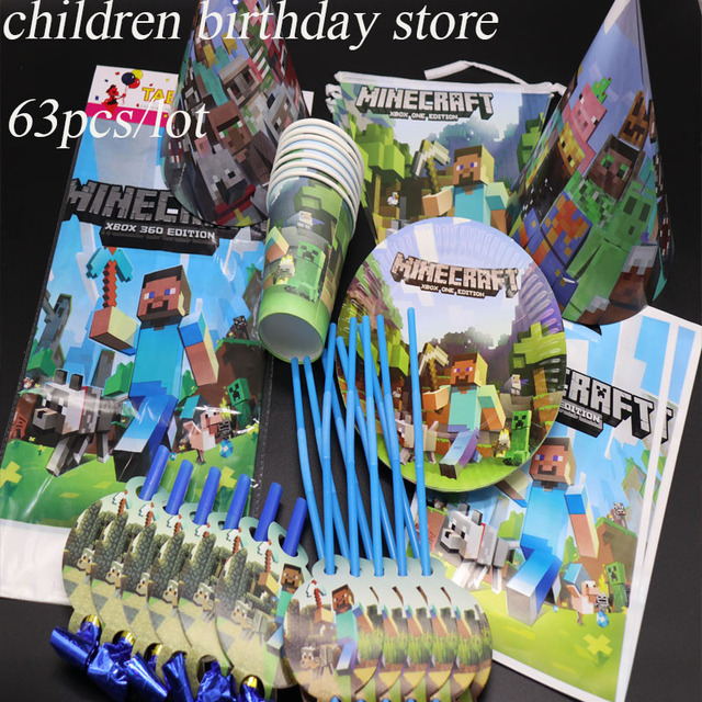 63pcs Lot Minecraft Party Set Kids Birthday Decorations Theme Disposable Tableware Plates Cups Straws