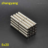 10/40/100pcs 5*20mm cylindrical rod magnet Powerful Strong Rare Earth Neodymium Disc Magnets 5x20 mm n35 Small Round Magnet