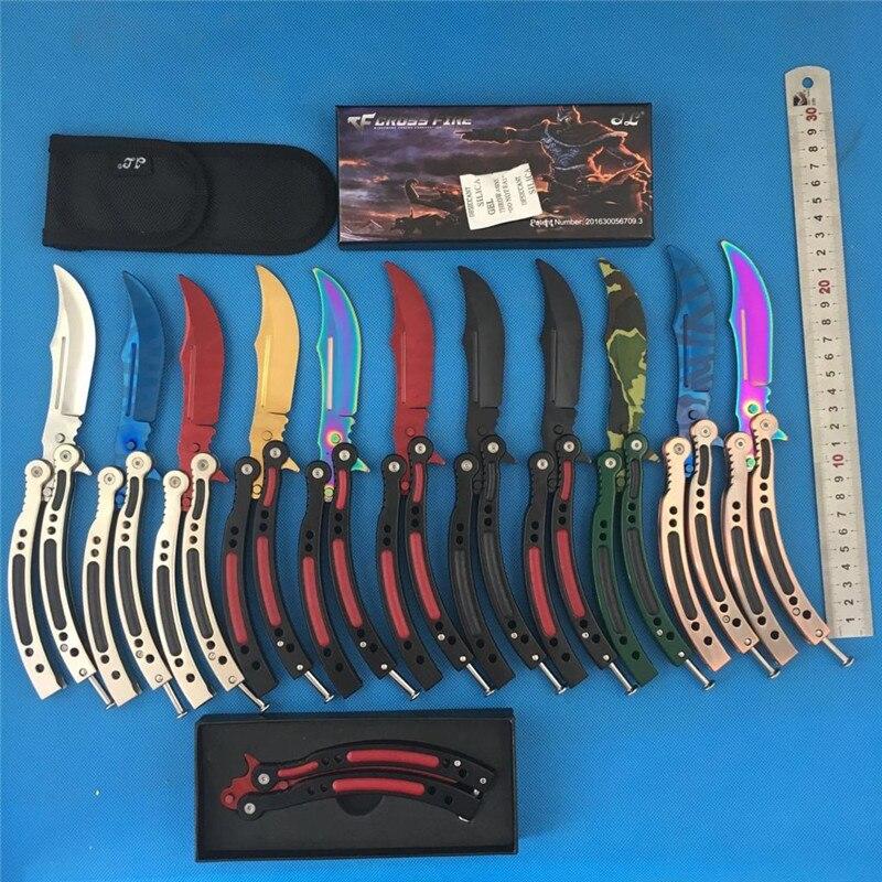FBIQQ 12 modèles papillon couteau CS GO Karambit pratique pliant Couteau papillon formateur jeu couteau lame émoussée aucun bord outil