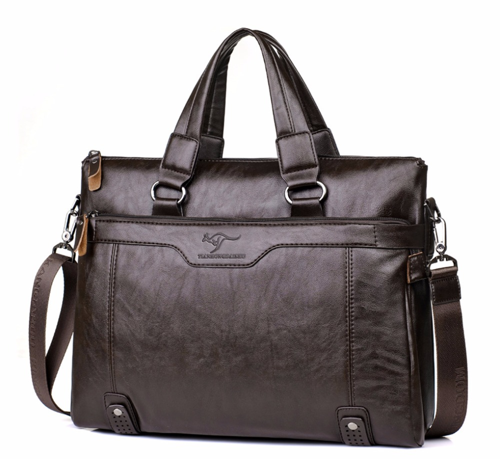 Men Business Leather Briefcase Shoulder Messenger Bag for 14 Laptop Men s Crossbody Briefcase Bags man