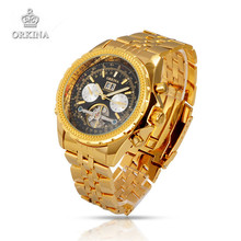 Orkina Men Luxury Brand Wristwatches Stainless Steel Mechanical Watches Military Business Golden Silver Watch Gift For