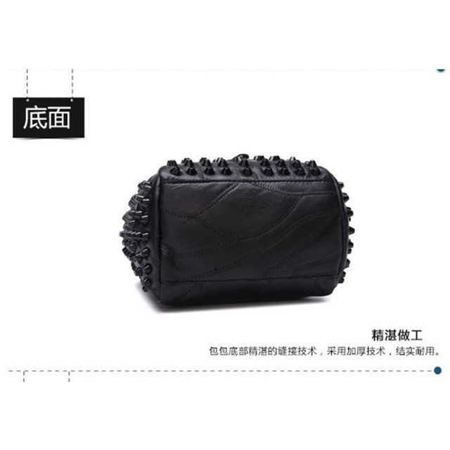 XIYUAN BRAND women new fashion Sheepskin vintage Handbags female Genuine Leather Solid rivet shoulder bags black lady hand bag