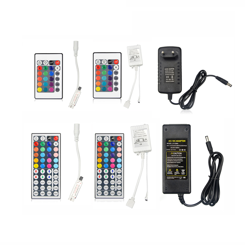 Инфракрасный пульт дистанционного управления RGB, 12 в пост. Тока, 24 клавиши/44 клавиши, адаптер питания для светодиодных лент SMD 5050 3528