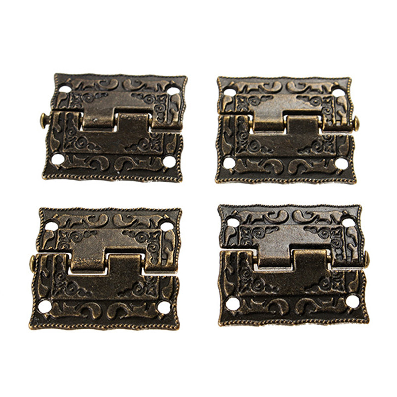 4pcs 36*23mm Antique Bronze Hinges Door Hinges Cabinet Drawer Jewelry Box Hinge For Furniture Hardware Door Corner Protector home metal crown design head cabinet window wardrobe door hinge bronze tone 87 x 39mm 4pcs