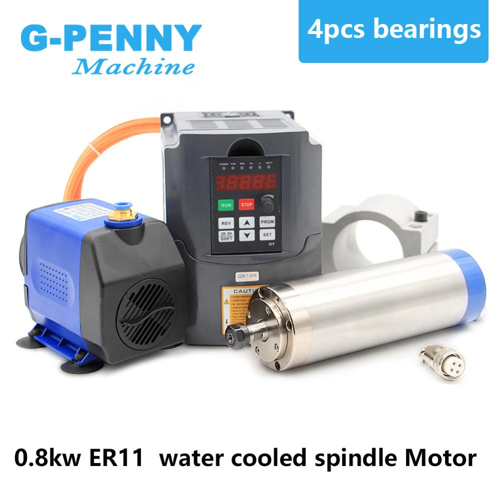 Water cooled spindle kit 800w water cooling spindle 4 bearings 65mm diameter 0.8kw spindle & 1.5kw inverter/VFD &75w water pumpWater cooled spindle kit 800w water cooling spindle 4 bearings 65mm diameter 0.8kw spindle & 1.5kw inverter/VFD &75w water pump
